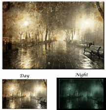 Glow in the Dark Canvas Art - Night Alley Street Light Park - Ready to Hang