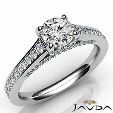 Excellent Round Cut Diamond Engagement Pave Set Ring GIA E VVS1 Platinum 1.25Ct