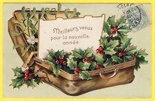 cpa fantaisie gaufrée - Nouvel an valise de houx et gui embossed mistletoe holly