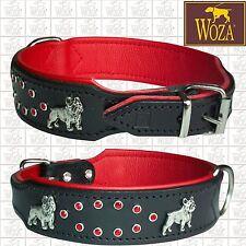 WOZA Premium Hundehalsband Französische Bulldogge Lederhalsband Vollleder O21067