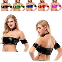 Women Leather Strapless Bandeau Bustier Crop Top Vest Tube Tank Top Blouse Shirt
