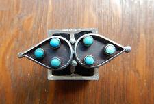 Vintage Navajo Snake Eye Sterling Silver Long Turquoise Ring 7