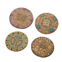 8pcs Round Placemats Wooden Heat Insulation Table mats Drink Coasters for Cafe