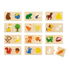 Toddler Puzzle, Educational Wooden Animal Feeding Puzzle 24 pieces, Puzzle Pairs