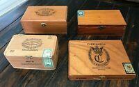 Lot 4 Empty Wooden Cigar Boxes Santa Clara EXCALIBUR Carrington Havana Sunrise