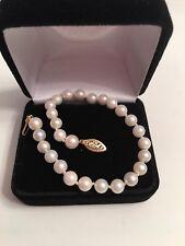 Vintage Cultured Pearl 14k Gold Clasp Bracelet