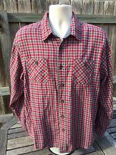 Vintage Wrangler Western Flannel Size XL Shirt Rockabilly Red Plaid Button Down