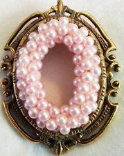 "Lrg Vintage Pink Pearl Raised Cluster Old Gold Brooch Oval Scarf Hat Pin 2"" EUC"