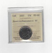 **2007 Mountie, Colour**, ICCS Graded Canadian, 25 Cent, **MS-66 NBU**