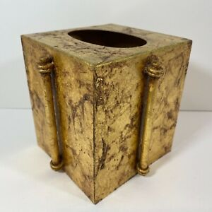 Vintage Gold Leaf Metal Square Tissue Box