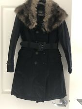 Mexx Women's Coat With Removable Collar Size 4 Color Black With Belt