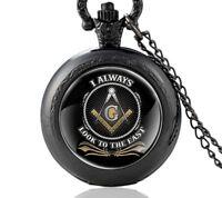 Taschenuhr Mini Freimaurer Masonic Winkel Zirkel Edelstahl+Kette 80cm (UM25)