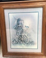 Home Interiors Picture Homco Print Vintage Mailbox Wheel Birds Flowers Vintage