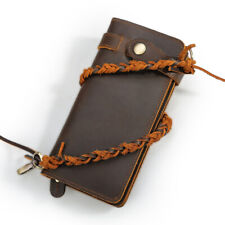 RFID Vintage Men Real Leather Long Wallet Chain Clutch Purse Credit Card Holder