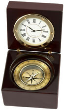 Desk Clock and Compass in a Lacquered Wooden Box (br1956)