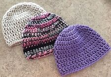 Newborn Baby GIrl Handmade Crochet Beanie Hats 0-3 Months - 3 Hats - Lot of 3