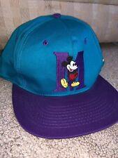 VINTAGE Disney Mickey Mouse Snap Back Hat Cap Green Purple  Disney World 90s