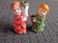 "Vintage Christmas Hand Painted Candle Holder 5"" Girl & Boy Carolers STAR Japan"