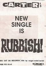 CARTER USM 'Rubbish' 1990 UK Press ADVERT 8x6 inches