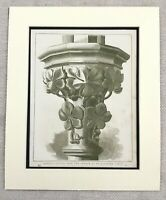 1859 Print Architectural French Gothic Column Architecture Antique Original
