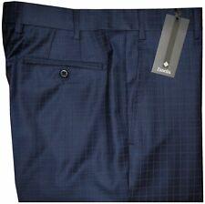 $495 NWT ZANELLA NORDSTROM DEVON DARK BLUE GRID SUPER 150'S WOOL DRESS PANTS 34