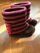 EUC Childrens Place PEP CHALET Sweater Slouch BOOTS pink brown SHOES Girls 13
