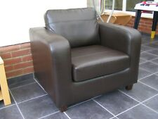 Milano Faux Leather PU Armchair Brown - Dining Room Modern Office Furniture