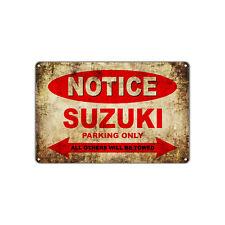 Suzuki Motorcycles Parking Sign Vintage Retro Metal Decor Art Shop Man Cave Bar