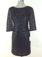 Calvin Klein NWT Black Sequence Lace Dress 3/4 Sleevs Petite 2P 4P 6P 8P 10P 12P
