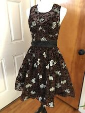 FROCK TRACY REESE brown silk Flocked floral sleeveless cocktail evening dress M