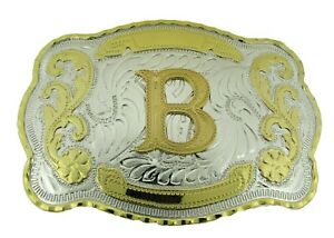 Initial Letter B Belt Buckle Western Rodeo Big Texas Style Gold Silver Metal New