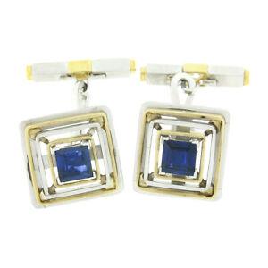Vintage Mens Platinum 18K Gold GIA Sapphire Diamond Concentric Square Cuff Links