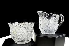 "EAPG US GLASS PENNSYLVANIA BALDER KAMONIPATTERN GLASS 2.5"" CHILD CREAMER & SUGAR"