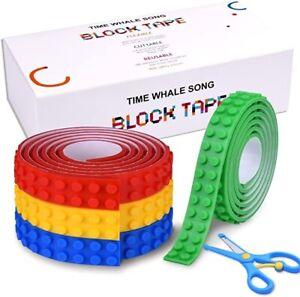 Tape Block For LEGO Bricks Building Block Tape Rolls, Self Adhesive, 4 Colors