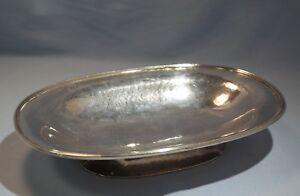 Art Deco Zurich Swiss Baltensperger Sterling Silver Hand Hammered Boat Form Bowl
