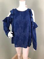 NWT Womens Michael Kors L/S Blue/White Cold Shoulder Blouse Top Sz L Large
