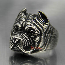 Fashion Mens Boy Pitbull Dog Silver 316L Stainless Steel  Ring Jewelry Size 10""