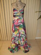 PROM/FORMAL NWT NIGHT MOVES WHITE MULTI PRINT ONE SHOULDER GOWN PLUS SIZE 14W