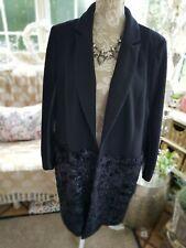 💜💜💜River Island Black Fur Detail Wool Coat 18 💜💜💜