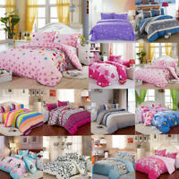 Single Double King Size Quilt Duvet Cover Pillow Case Bedding Bedclothes Set ❤
