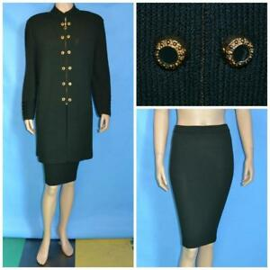 St John Collection Green Jacket Skirt L 14 10 2pc Suit God Buttons Ribbed Detail