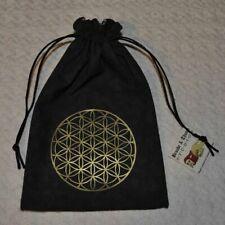 Flower of life sacred geometry gold handmade black tarot dice rune bag