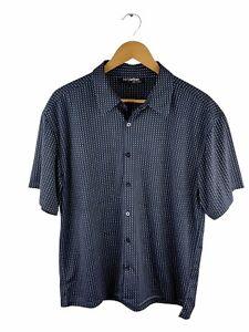 Kenji Urban Button Up Shirt Mens Size L Black Geometric Short Sleeve Collared