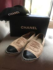 Chanel Leather Espadrilles Size 38 AUTHENTIC