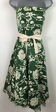 WOMENS VILA GREEN CREAM FLORAL SATIN STRAPLESS BELTED OCCASION DRESS MEDIUM