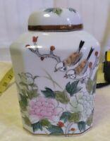 Damaged Vintage Hexagonal Porcelain Vase Ginger Jar