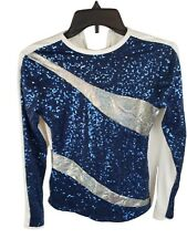 Blue Sequin Shirt with White Back Cheer Dance Costume - Women's Adult Medium