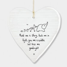 East of India Wobbly White Porcelain Heart Read me a Story Baby Saying 10x9cm