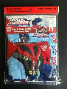Transformers Animated 2 Piece Cotton Pajamas-New in Package. Size 4-From 2008.