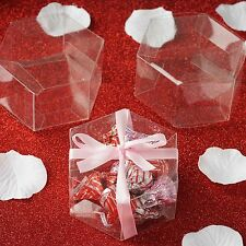 "100 CLEAR Hexagon FAVORS BOXES 3"" Wedding Party Decorations GIFT Supply SALE"